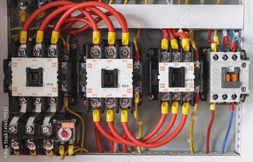 Close Up Electrical Wiring With Fuses And Contactors In Control Panel Box Of Machine Buy This Stock Photo And Explore Similar Images At Adobe Stock Adobe Stock