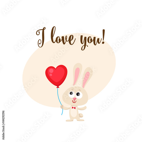 I Love You Greeting Card Banner Template With Cute Funny Rabbit Holding Red Heart Shaped Balloon Cartoon Vector Ilration Bunny