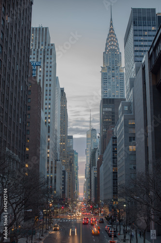 Foto op Aluminium New York Manhattan Sunset over 42 street