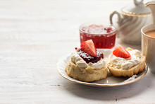 English Cream Teas With Scones With Clotted Cream And Jam