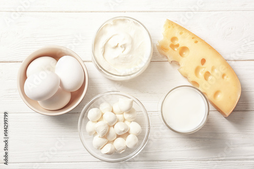 Recess Fitting Dairy products Different dairy products on wooden table
