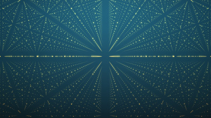 Abstract vector background. Matrix of glowing stars with illusion of depth and perspective. Abstract futuristic space background