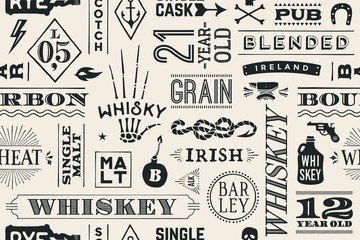 FototapetaSeamless pattern with types of whiskey and hand drawn lettering for bar, pub, cafe, fest and party. Vintage drawing for placemat, bar menu, t-shirt print and whiskey themes. Vector Illustration