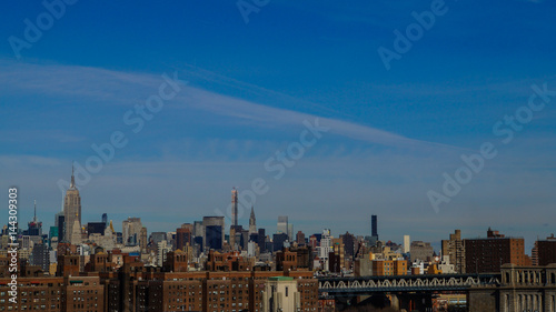 Staande foto Milan Skyline von New York City von der Brooklyn Bridge aus