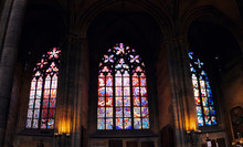 Mosaic Drawings Of Czech Artists On The Stained Glass Windows Of St. Vitus Cathedral