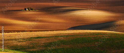 Detail scenery at South Moravian field during spring, Czech republic Wallpaper Mural