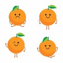 Set Cartoon Oranges