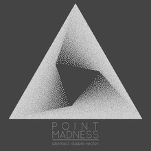 Vector Illustration Of Abstract Dotted Symbol Delta Fading Inside. Sacred Geometry Sign Made In Stippling Technique. Isolated Halftone Symbol. Pointillism.