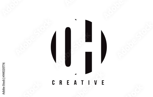 Photo OH O H White Letter Logo Design with Circle Background.