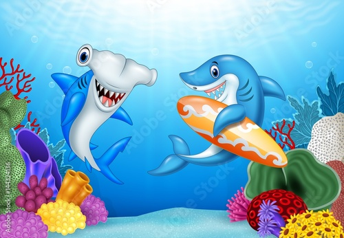 Recess Fitting Submarine Cartoon sharks with tropical underwater background