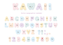 Kawaii Alphabet In Pastel Colo...