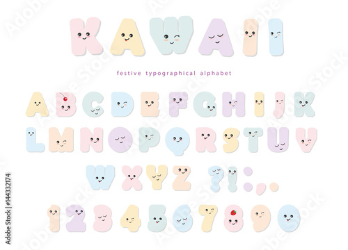 Photo  Kawaii alphabet in pastel colors with funny smiling faces