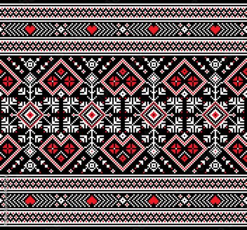 obraz PCV Vector illustration of Ukrainian folk seamless pattern ornament. Ethnic ornament. Border element. Traditional Ukrainian, Belarusian folk art knitted embroidery pattern - Vyshyvanka