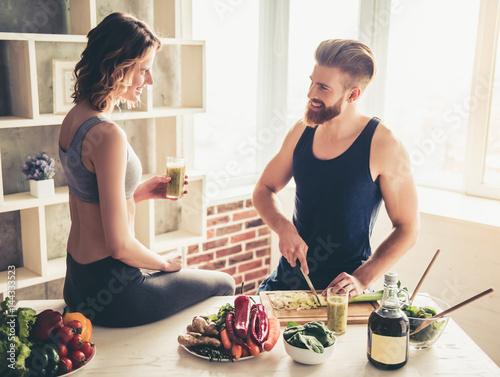 Foto op Plexiglas Koken Couple cooking healthy food