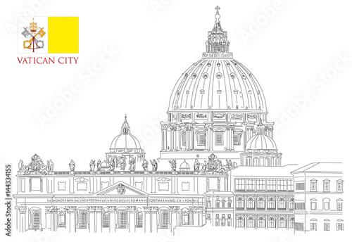 Fotografia Vatican minimal vector illustration on white background, view of Saint Peters ba