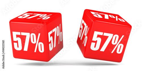 Fotografie, Obraz  Fifty seven percent off. Discount 57 %. Red cubes.