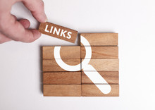 Business, Technology, Internet And Network Concept. Young Businessman Shows The Word: Links
