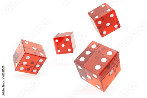 Red Casino dice, concept of gambling, on white background, 3d rendering плакат