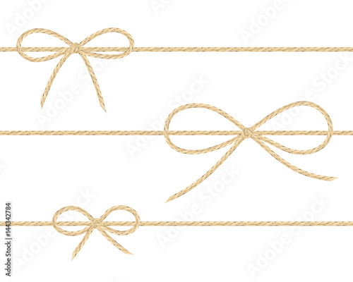 Fototapeta A set of realistic linen string bows. Vector illustration of different types of ribbons and linen string patterns. obraz
