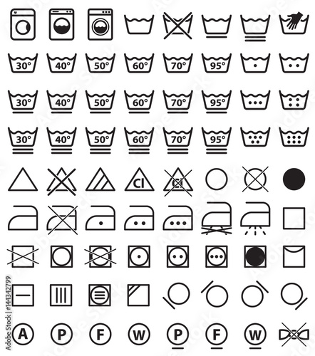 Fotografía  laundry icons, washing symbols and signs for cloth
