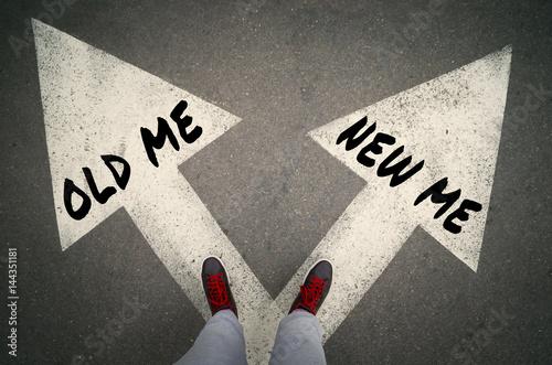 NEW ME versus OLD ME written on the white arrows, dilemmas concept Wallpaper Mural