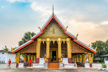 May 8, 2016 - Luangprabang, Laos : Monk Ring A Bell In The Temple