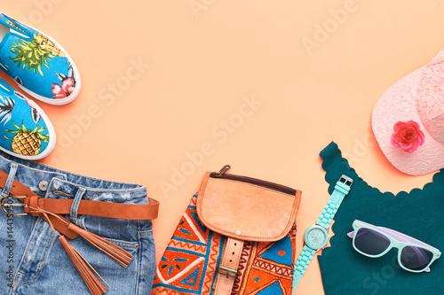 Obraz na plátně  Fashion Hipster Accessories. Stylish Urban Outfit