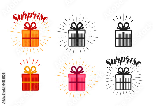 Foto Gift box, surprise set of icons. Lettering vector illustration