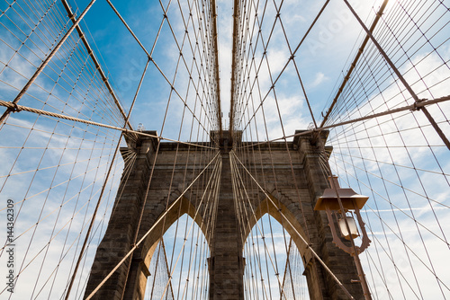 Poster Brooklyn Bridge View on the wire suspension of Brooklyn Bridge in New York