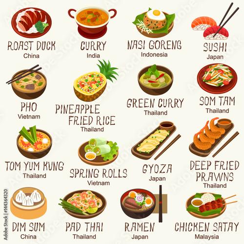 Asian foods vector set