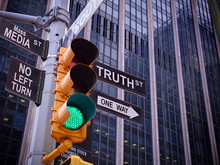 NYC Wall Street Yellow Traffic Green Light Black Pointer Guide One Way To Truth. No Way, No Turn To Mass Media Fake News. Right Choice Is Truth. Mass Media News Concept. Politics