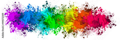 Fotografie, Obraz Multi-Color Paint Splatter Border/Background