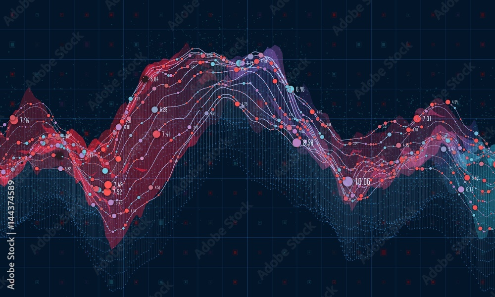 Fototapety, obrazy: Big data visualization. Futuristic infographic. Information aesthetic design. Visual data complexity. Complex data threads graphic visualization. Social network representation. Abstract data graph.