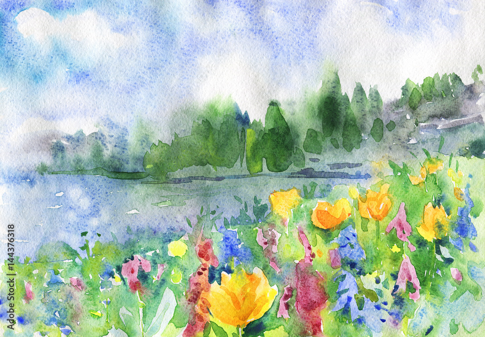 Tło akwarela natura. Ręka rysujący wiosna krajobraz z śródpolnymi kwiatami, jeziorem, niebieskim niebem i lasem. Malowanie drewna ilustracji
