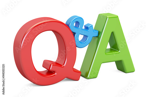 Photo  Q&A colored text, 3D rendering