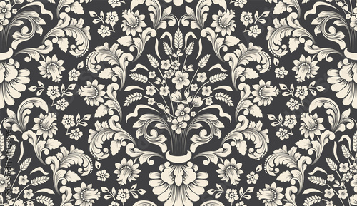 Obraz Vector damask seamless pattern element. Classical luxury old fashioned damask ornament, royal victorian seamless texture for wallpapers, textile, wrapping. Exquisite floral baroque template. - fototapety do salonu
