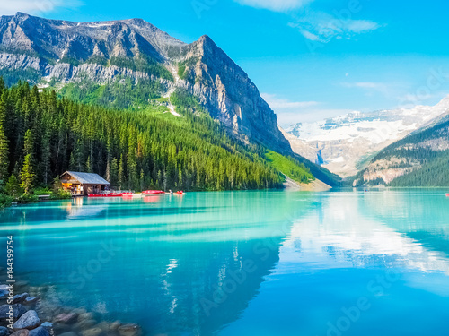 Garden Poster Canada Beautiful Nature of Lake Louise in Banff National Park, Canada