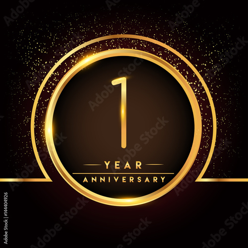 One years birthday celebration logotype 1st anniversary logo with one years birthday celebration logotype 1st anniversary logo with confetti and golden ring isolated on stopboris Image collections