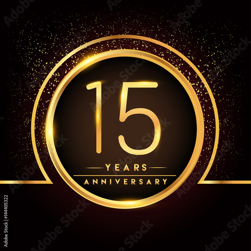 Fifteen Years Birthday Celebration Logotype 15th Anniversary Logo