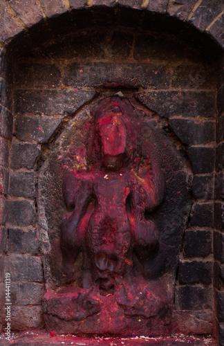 Hindu Goddess Stone Sculpture Billede på lærred