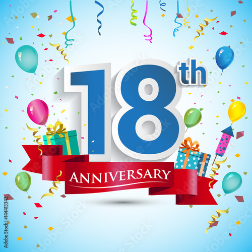 18th Years Anniversary Celebration Design, with gift box and balloons, Red ribbon, Colorful Vector template elements for your eighteen birthday celebrating party. Wall mural