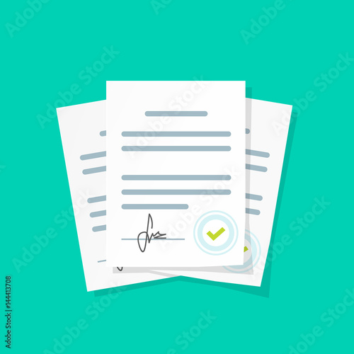 Fotografía  Contract documents pile vector illustration, flat cartoon stack of agreements do