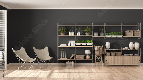 Eco White And Gray Interior Design With Wooden Bookshelf
