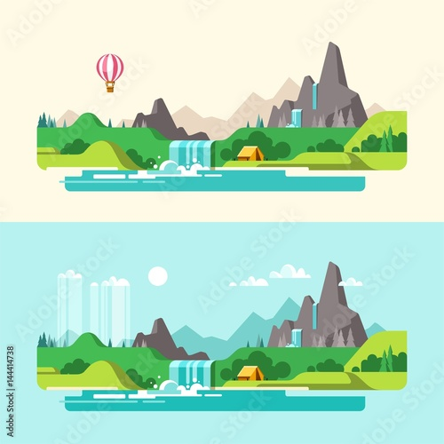 Summer landscape. Hiking and camping. Weekend in the tent. Vector illustration in flat design style.