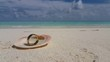 v00991 Maldives beautiful beach background white sandy tropical paradise island with blue sky sea water ocean 4k seashell gold ring