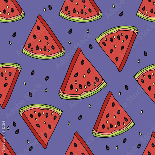 Poster Retro sign Seamless pattern with the slices of watermelon. Vector illustration.