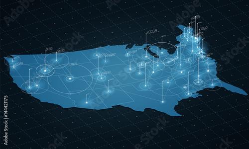 Photo  USA map big data visualization