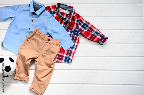baby boy clothing set blue shirt plaid red shirt and brown pant