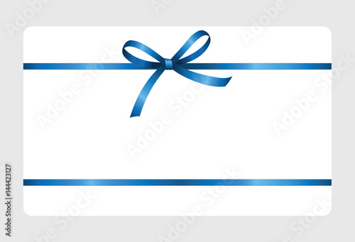 Gift Certificate Card With Blue Ribbon And A Bow On White Background Voucher Template Vector Image