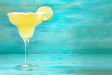Lemon Margarita Cocktails On Vibrant Turquoise With Copyspace